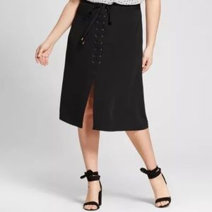 Who What Wear Black Lace Up Skirt, size 26W NWT